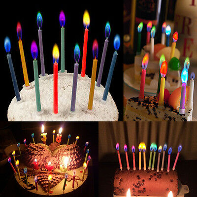 6pcs Birthday Cake Candles Colored Angel Flame Safe Party Decor with Holders