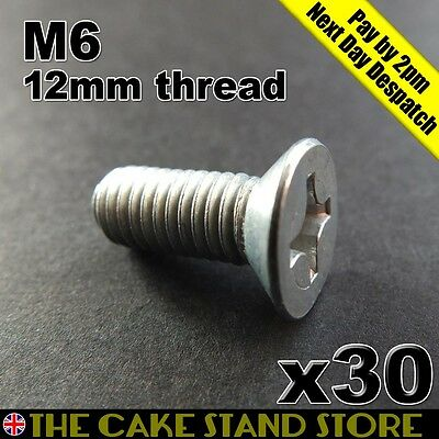 30 x 6mm Cake Stand Handle/Rod Bottom Plate Tapered Head Bolts (12mm length)