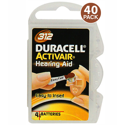 40 Duracell Activair Hearing Aid Batteries Size 312 (40 Batteries Total)