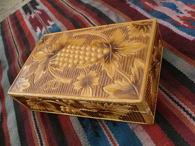Vintage Ukrainian wooden carved jewerly box  handmade