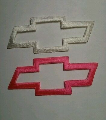 Brand new Chevrolet Chevy Bowtie logo embroidery iron on patch NOS White Pink