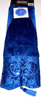 Christmas Tree Skirt 50 inches, Sapphire Blue, New w/Tag!