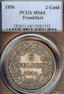 German States Frankfurt 1856 Two Gulden Taler Coin Thaler NGC PCGS MS 64  F.STG