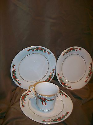 3 TIENSHAN FAIRFIELD POINSETTIA RIBBON PATTERN BREAD PLATES (TEACUP NOT INCLUDED