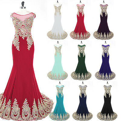 Ladies' Evening Applique Wedding Formal Gown Mermaid Prom Cocktail Ball Dresses