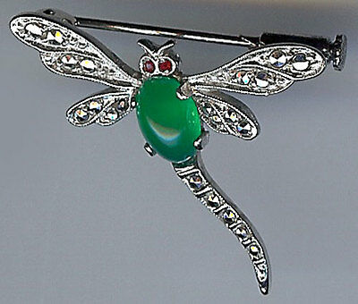 French Hallmarked Vintage Sterling Silver Chrysoprase Marcasite Dragonfly Pin*