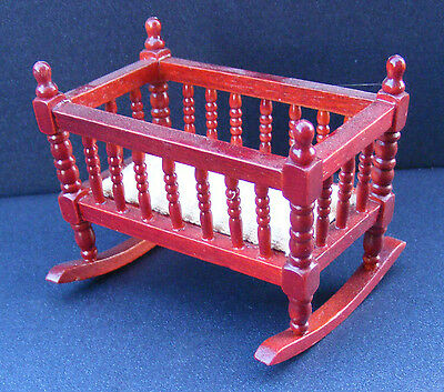 1:12 Scale Wooden Mahogany Coloured Rocking Cot Dolls House Furniture S 287