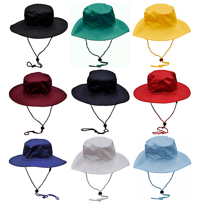 Mens Womens Kids Boys Girls Wide Brim Summer Hat String Toggle Sun School Work