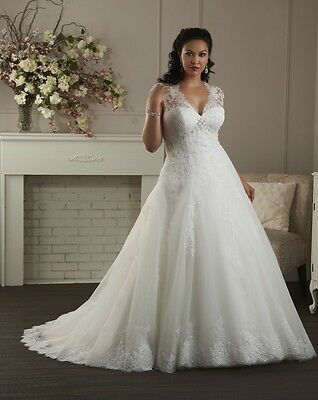 Gown A-line Organza with Appliques Cap Sleeve V-neck Plus/Large Size Bridal