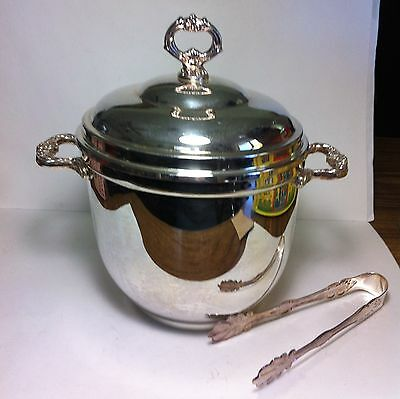 VINTAGE SHERIDAN ICE BUCKET TAUNTON SILVERSMITHS LTD -WITH TONGS AND GLASS LINER