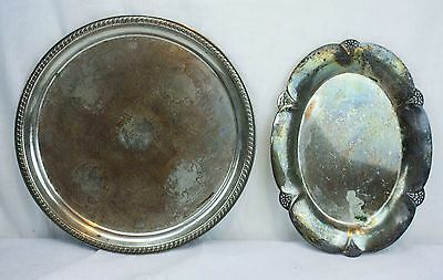 Lot of 2 Vintage Silver Plate Platters Round Oval Etched Heavily Aged On Copper