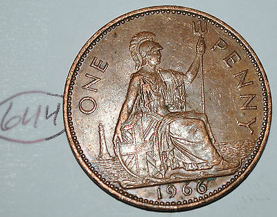 1966 Great Britain 1 Large One Penny UK Coin Nice KM# 897 Lot #644