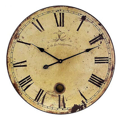 IMAX Large Wall Clock with Pendulum Home Decor Vintage Rustic Look Timepiece NEW