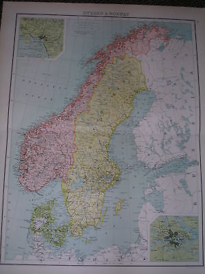 1898 LARGE VICTORIAN MAP SWEDEN AND NORWAY