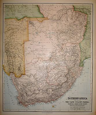 1898 VERY LARGE VICTORIAN MAP ~ SOUTH AFRICA CAPE TRANSVAAL 26 x 21 inch + INDEX