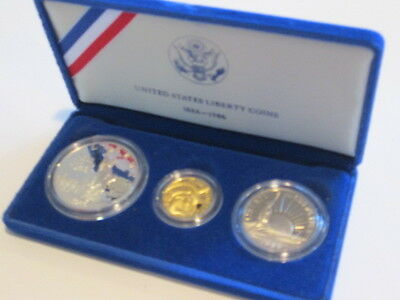 1986 US Mint Statue of Liberty Commemorative 3 Coin Uncirculated set w/$5 Gold!