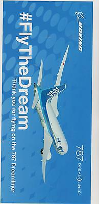 BOEING sticker 787 DREAMLINER FlyTheDream Thank you for flying on the 787 Dreaml