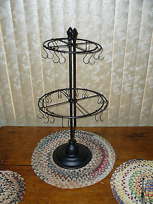 Black Round Rotating Carousel Hook Rack Small Size 2 tier NEW
