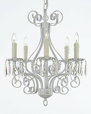 WROUGHT IRON CHANDELIER LIGHTING COUNTRY FRENCH CRYSTAL WHITE FIXTURE LAMP LIGHT
