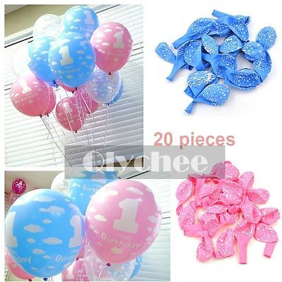 20X Baby 1st Birthday Printed Pearlised Latex Balloons For Boy Girl Party Decor