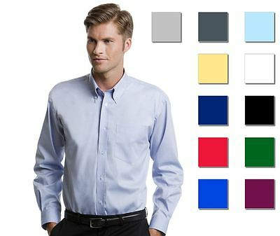Mens Long Sleeve Oxford Shirt Smart Formal Casual Suit Wear New By Kustom Kit
