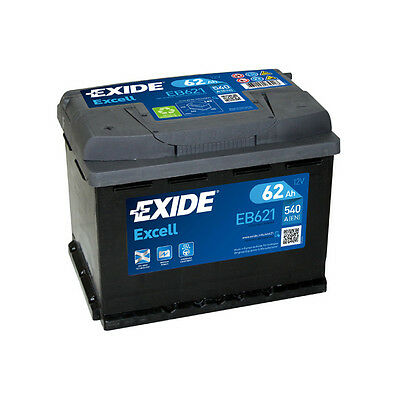 1x Exide Excell 62Ah 540CCA 12v Type 078 Car Battery 3 Year Warranty - EB621