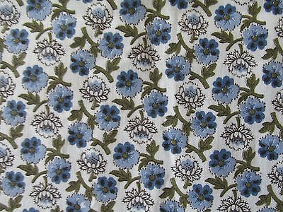 "VTG BLUE FLORAL CALICO COTTON FABRIC 4 YDS X 36"" QUILTING CRAFTS"
