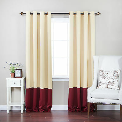 Colorblock Thermal Insulated Grommet Top Blackout Curtain Panels Set of 2