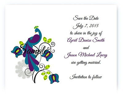 100 Personalized Custom Purple Peacock Bridal Wedding Save The Date Cards