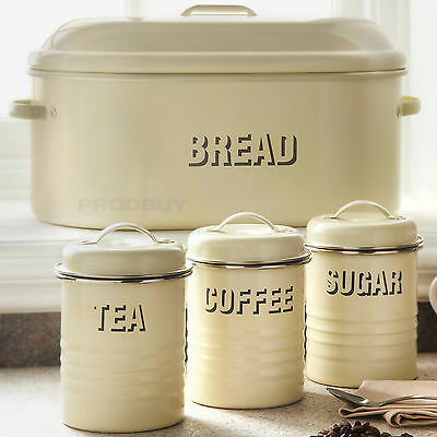Ceramic kitchen canisters tea coffee sugar biscuit for Cream kitchen set