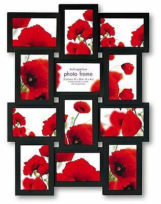 Black Multi Aperture Photo Picture Frame - Holds 12 X 6''X4'' Photos