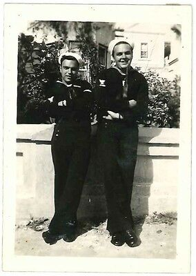 Photograph Snapshot Vintage Black and White: 2 Navy / Soldiers WWII 1940's