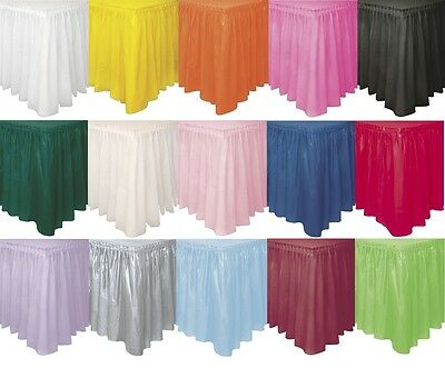 "Plastic TABLE SKIRT (29"" x 14 feet)Plain Solid Colours Party Birthday Tablecover"