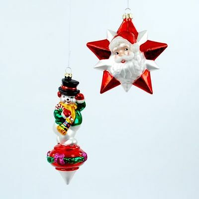 Vintage-style SANTA CLAUS and SNOWMAN Glass Ornaments Set of 2  Christmas NEW
