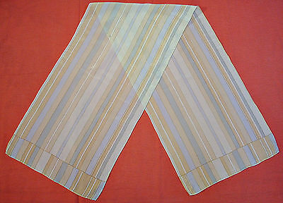 Vintage Striped Art Beige Blue Silk Long Women's Scarf
