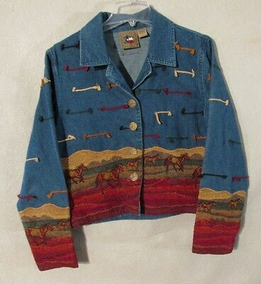 V6902 Don't Mess With Texas Womens Large Denim Button Up Jacket Horse Embroidery