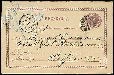 Sweden 1882, 6ore Stationery Postal Card Used #C19030