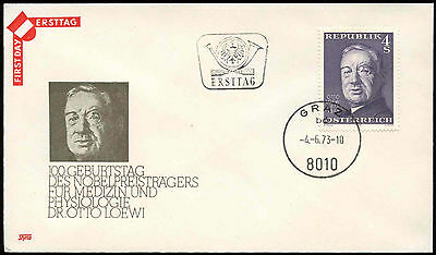 Austria 1973 Otto Loewi FDC First Day Cover #C18916