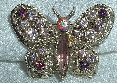 bae15d5dce6ab VINTAGE FILIGREE GOLD Tone Pink Purple Rhinestone Tiered Butterfly Brooch  Pin