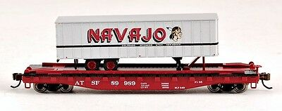 Bachmann N Scale Train Piggyback Santa Fe With Navajo Freight Line Trailer 16751