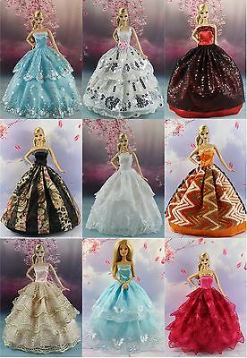 15 items=5* Fashion Handmade Party Dress/Clothes/Gown +10 shoes For Barbie Doll3