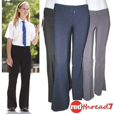 New Girls School Stretch Flare Pants Slacks Trousers Navy Blue Uniform Size 12