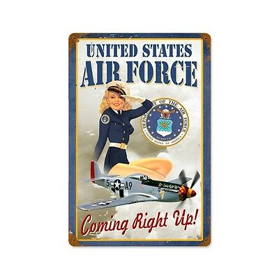 US Air Force Girl Vintage Metal Sign Military Comin Right Up 18X12Steel Not Tin