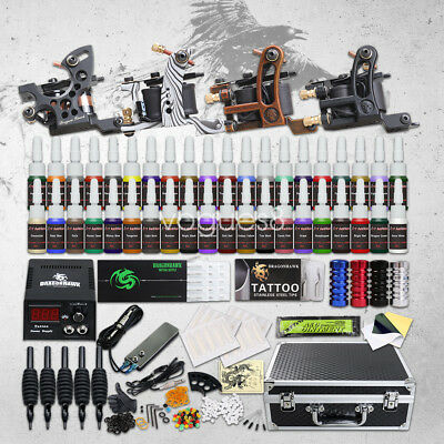 Tattoo Kit 4 Top Machine Gun 40 Color Ink Power Supply Needle Complete D139GD-15