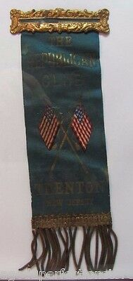 Antique 19c The Republican Club - Trenton New Jersey Ribbon Pin - Whitehead Hoag