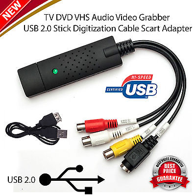 New Capture Card Easycap USB 2.0 VHS to DVD Converter Audio Video Adapter UK