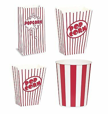 POPCORN Boxes/Buckets/Bags (Red Stripes)(Party/Food/Retro/Hollywood/Movie/Treat)