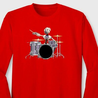 ROBOT DRUMMER Drum Set Sci Fi T-shirt Band Rock Music Long Sleeve Tee