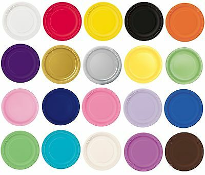 "16 x 9"" ROUND Paper PLATES (22cm) Plain Solid Colours Birthday Party Tableware"
