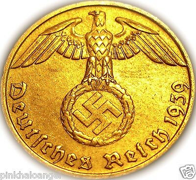 German 3rd Reich 1939 Rp Coin w/ Swastika - Nazi Germany WW 2 -  Rare Coin